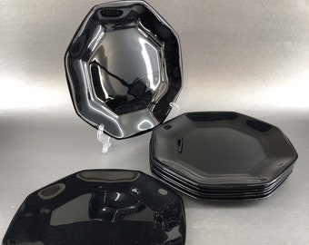Set of 4 vintage (late 1980s) Arcoroc | Arcopal | Luminarc Novoctime black glass salad | side plates. Octagonal shape, all black glass.