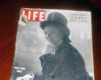 Mid-century (November 6, 1950) Life Magazine. Black-and-white cover of Lippizan horse show rider. Churchill's memoirs. Mid-century ads.