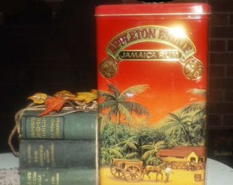 Vintage (1992) Appleton Estate Jamaica Rum X/V lithographed, hinged tin. Tin manufactured in England.