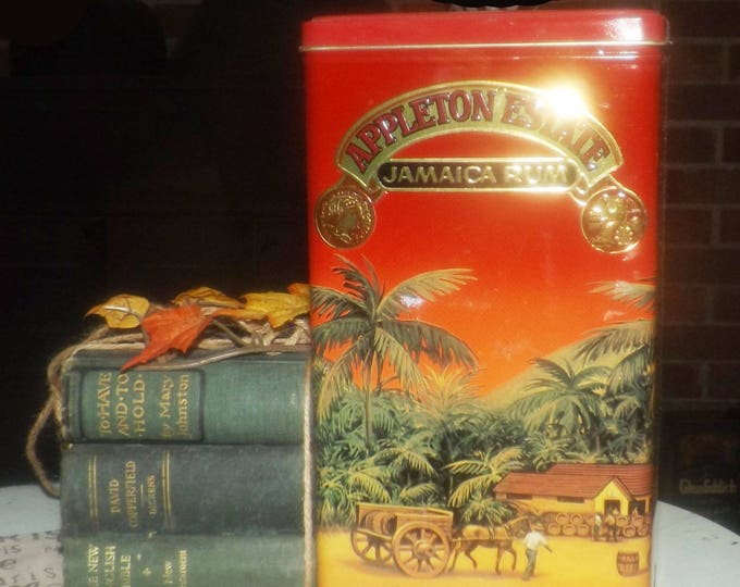 Vintage (1992) Appleton Estate Jamaica Rum X/V lithographed, hinged tin. Tin manufactured in England.