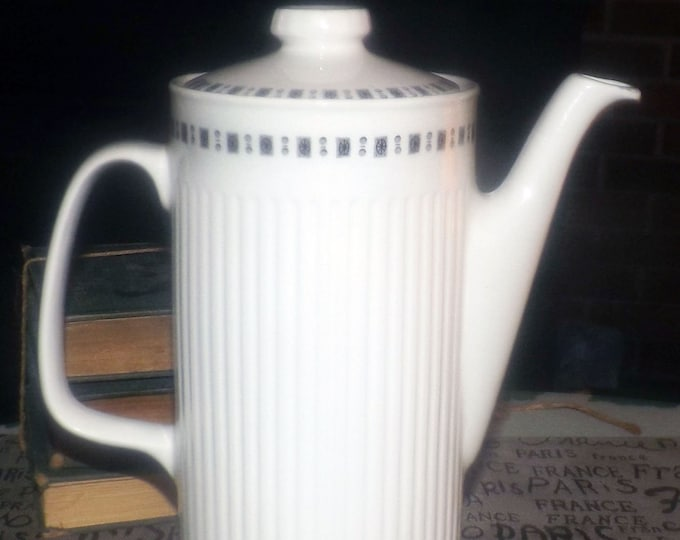 Vintage (1970s) Johnson Brothers Embassy Athena pattern tall teapot with lid. Classic white ribbed Athena with gray blocks and dots.
