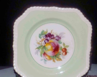 Almost antique (1920s) Johnson Brothers California square salad or dessert plate. Mint-green band, rope edge, fruit center,