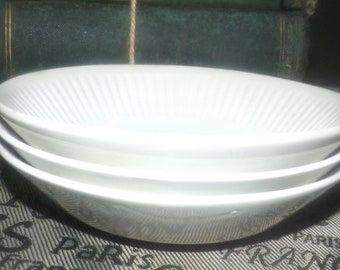 Set of 3 vintage (1960s-1980s) Johnson Brothers Athena fruit nappies, dessert, sauce, or berry bowls. Different decades. Flawed (see below)