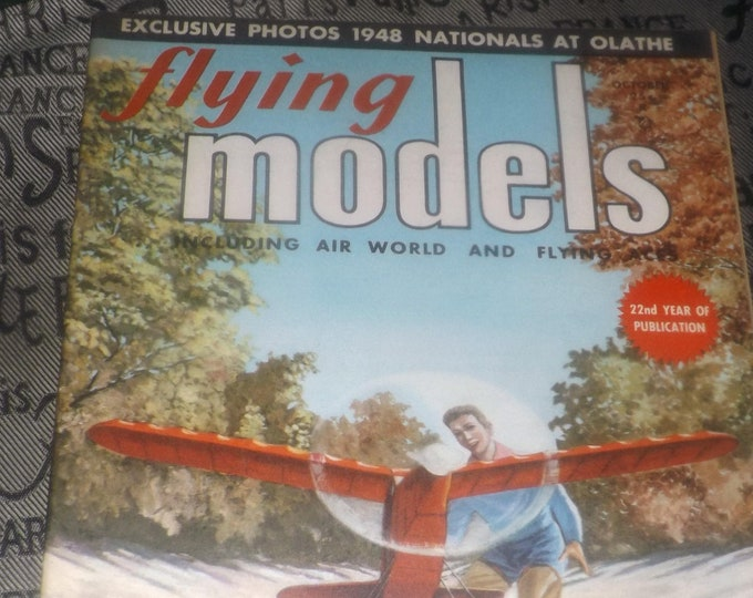 Early mid-century (October, 1948) Flying Models aircraft | boat modeling hobby magazine published by Harle Publications, Ohio USA. Complete