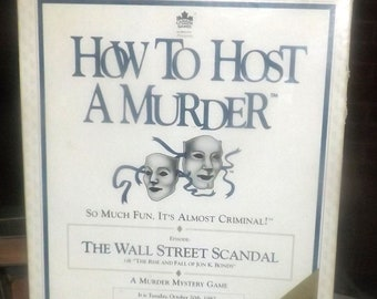 Vintage (1991) How to Host a Murder The Wall Street Scandal cassette-driven party board game published by Canada Games. Complete.