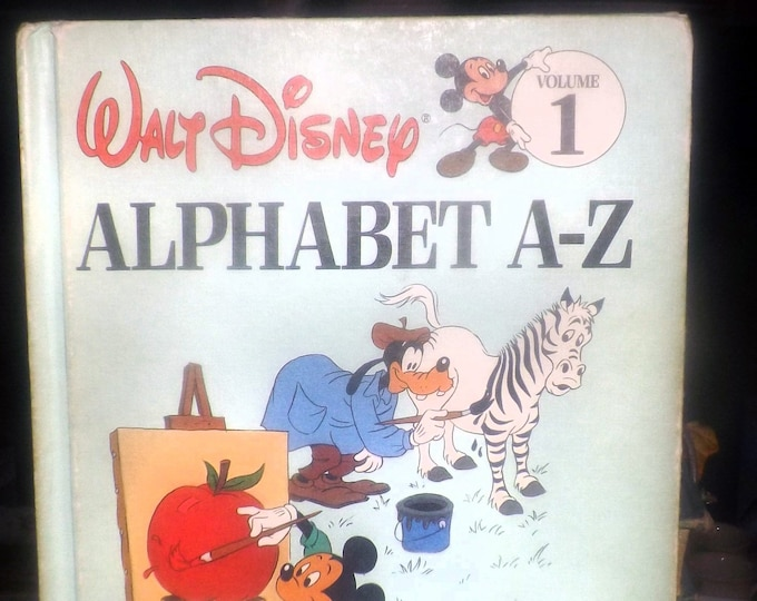 Vintage (1984) Walt Disney Mickey Mouse Goofy Volume 1 Fun to Learn Library Alphabet A-Z hardcover children's learning book.