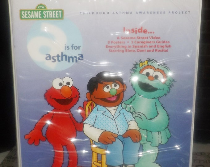 Vintage (1998) A is for Asthma Sesame Street | Muppets Parent Child Educational tool kit: video, Caregiver guide, poster. Eng | Spanish.