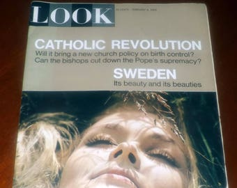 Vintage (February 9, 1965) LOOK magazine The Catholic Revolution, Sweden's Pagan Beauty, Medics Who Moonlight. Vintage ads. Complete.