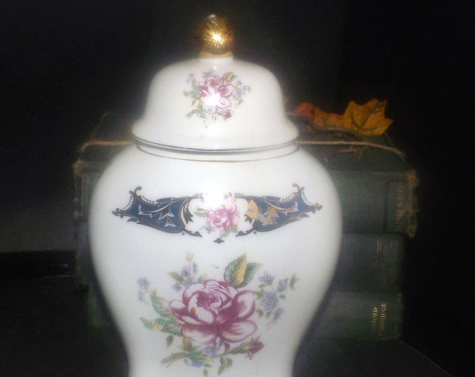 Mid-century (1950s) T.Limoges | Limoges Porcelana Fina lidded apothecary-style jar. Cobalt and blue with multicolor florals, gold accents.