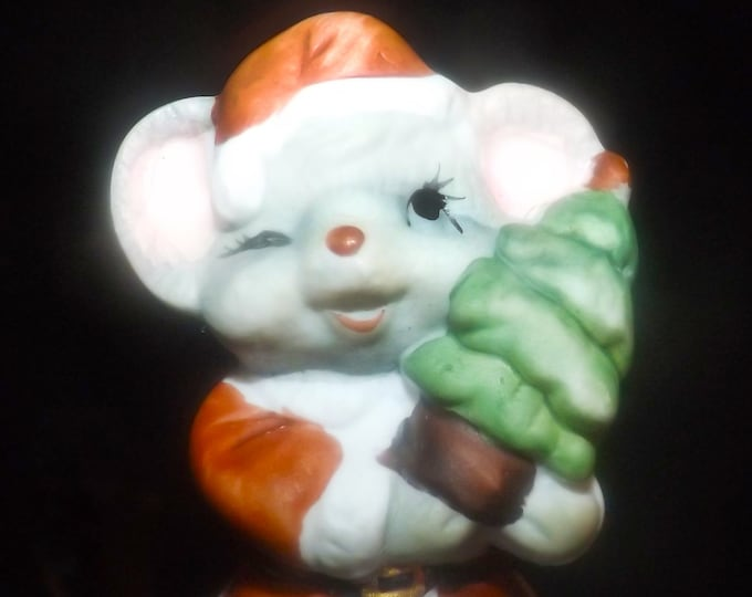 Vintage (late 1970s) JASCO Taiwan hand-painted porcelain bisque figural Christmas bell. Mouse holding tree on top, goose and mouse below.