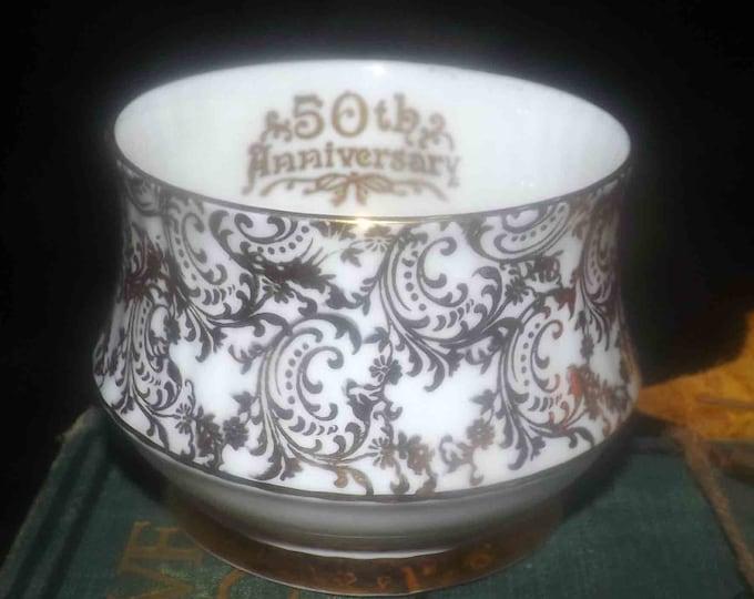 Vintage (1960s) Royal Windsor | Hammersley 50th Anniversary gold chintz hand-decorated sugar bowl pattern 2461.