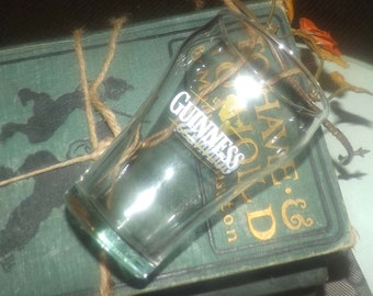 Vintage (mid 1990s) Guinness beer sampler | beer tasting glass.  Etched-glass artwork on both sides.  Rare in this size.