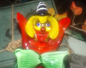 Mid-century (1950s) Murano art-glass hand-blown band member clown figurine.  Clown with castanet. Grafitti colors.