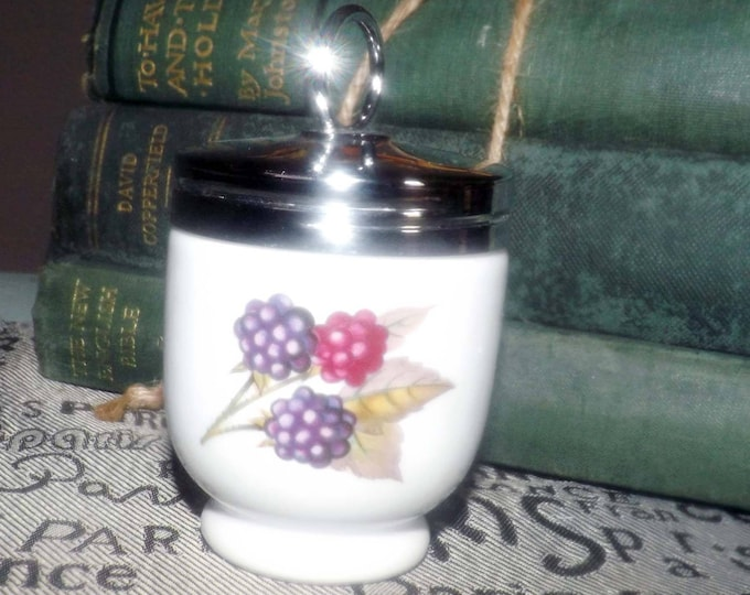 Vintage (1970s) Royal Worcester porcelain egg coddler with screw-on metal lid.