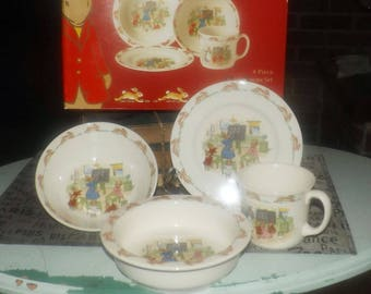 Vintage Royal Doulton Bunnykins four-piece boxed set. Math Lesson. Rimmed bowl, plate, mug, cereal bowl. The bunnies in math class!