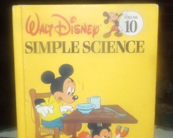 Vintage (1983) Walt Disney Mickey Mouse Donald Duck Goofy Volume 10 Fun to Learn Library Simple Science hardcover children's learning book.