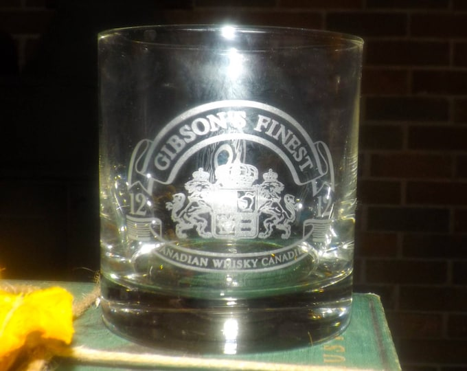 Vintage (1980s) Gibson's Finest Canadian Whisky | lo-ball | on-the-rocks glass. Etched-glass logo, weighted base. Commercial quality.