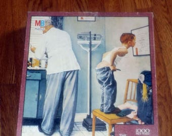 Vintage (1986) Milton Bradley textured jigsaw puzzle Before the Shot #4868-10. Norman Rockwell | Saturday Evening Post series. Complete
