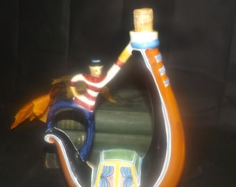 Vintage (1970s) rare figural wine decanter. Sailor, sailboat. Hand-painted, made in Italy.