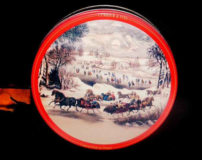 Vintage (1960s) Currier & Ives Central Park in Winter round cookie or biscuit tin.