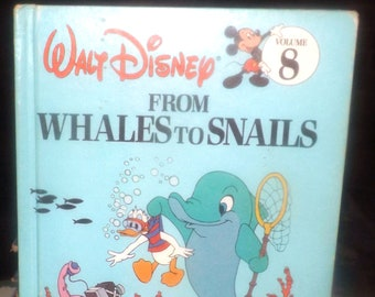 Vintage (1989) Walt Disney Mickey Mouse Donald Duck Volume 8 Fun to Learn Library From Whales to Snails children's learning book.