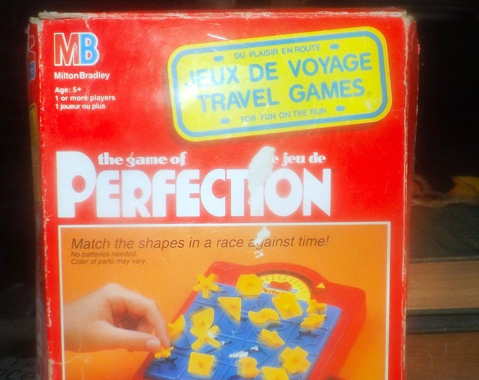 Vintage (1991) Perfection Travel Edition board game published by Milton Bradley. Incomplete (see below).