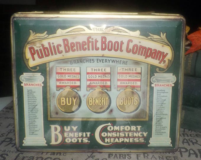Vintage (1960s) reproduction tin Public Benefit Boot Company.  Made in England.