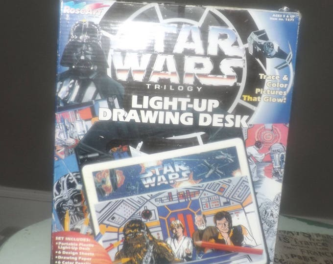 Vintage (1996) Star Wars Trilogy Light-Up Drawing Desk. Draw your favorite Star Wars characters and watch them glow! Rose Art | Lucasfilms