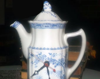 Almost antique (1920s) Furnivals England Quail Blue decorative coffee pot with clock mechanism. Blue quails and florals.