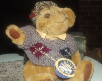 """Vintage (1996) Pickford Brass Button Bears Sherwood """"Bear of Long Life"""" glasses, preppy knitted sweater with houndstooth tam. Original tags."""