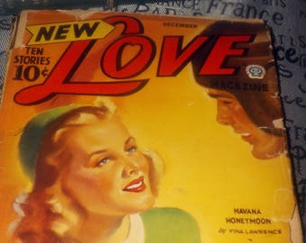 Early mid-century (December, 1942) New Love pulp romance, love story, pulp fiction magazine. Volume 1, No. 2.
