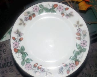 Set of eight vintage (1980s) Northland Fine China bread, dessert, side plates made in Japan.. Pink flowers, strawberries, platinum edge.
