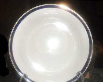 Early mid-century (1940s) Swinnertons hand-decorated cereal, soup, or salad bowl. Cobalt and gold bands.