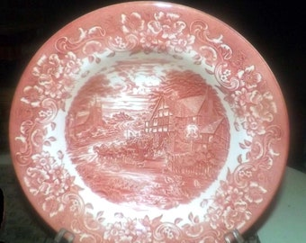 Vintage (mid 1990s) 17th Century Red pattern transferware rimmed soup | salad bowl made by Staffordshire Engravings. Minor flaw (see below).