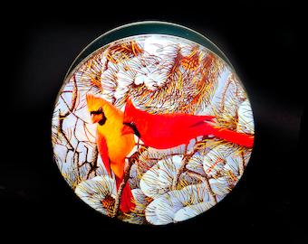 Vintage (1980s) Alan Giana-style round cookie tin. Christmas winter cardinals | birds in snow.