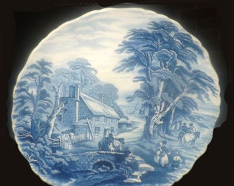 Vintage (1960s-1970s) James Kent Old Foley KNT3 blue-and-white transferware English Scenes large dinner plate | charger.