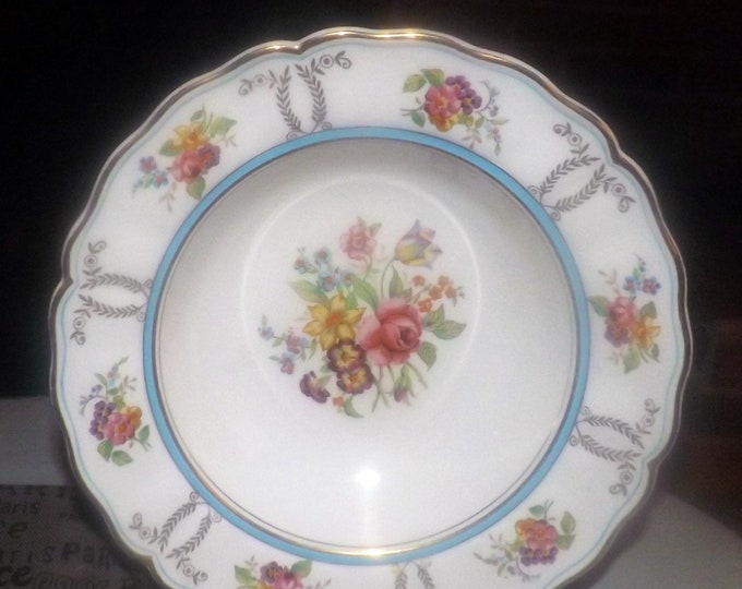 Early mid-century (1940s) Grindley Delphine hand-decorated rimmed soup bowl. Blue band, roses, florals. Royal Petal Marlborough.