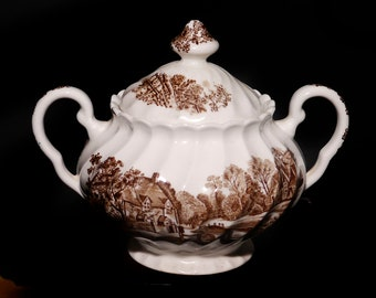 Vintage (1970s) Johnson Brothers Watermill Brown  covered handled sugar bowl made in England.