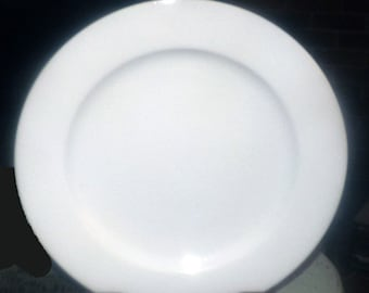 Vintage (late 1990s) Caban chef's favorite all-white large dinner plate | charger.  Very hard to find, made exclusively for Caban in Canada.