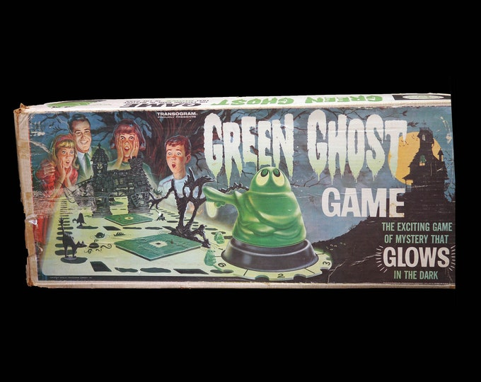 Vintage (1965) Green Ghost 3D glow-in-the-dark Halloween game made in the USA by Transogram. Incomplete (see below).