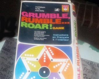 Vintage (1970) Grumble, Rumble, Roar board game made in the USA, published by Whitman.  Incomplete (see details below).