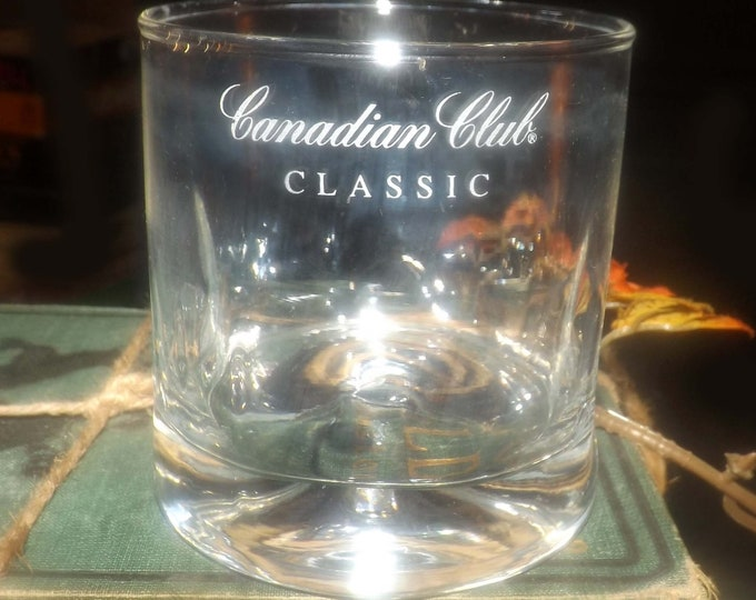 Vintage (1980s) Canadian Club Classic lo-ball | on the rocks | whisky glass. Etched-glass artwork, weighted base, dimpled sides.