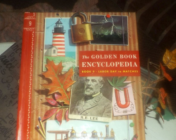 Mid-century (1959) Golden Book hardcover Children's Encyclopedia Volume 9 Labor Day to Matches. Published by Simon & Schuster USA. Complete.