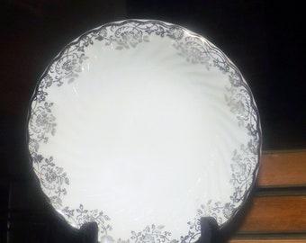 Mid-century (1950s) Johnson Brothers JB1211 Snowhite Regency cereal bowl. Platinum   silver filigree and edge.