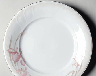 Vintage (early-mid 1980s) Noritake Sonata 3360 chop plate | round platter. Bursts of pink florals around embossed rim, gold edge.