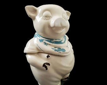 Early mid century Shawnee Pottery Smiley the Pig cookie jar. Blue bandana, closed eyes. American bisque pottery. Cosmetic issues (see below)