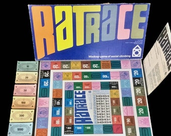 Vintage (1967) first-edition Ratrace board published by Waddingtons. Complete.