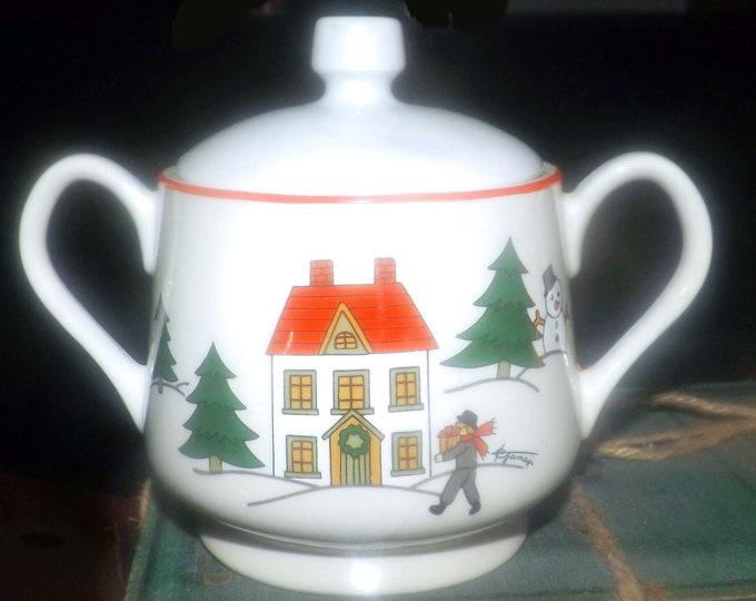Vintage (1980s) Fine China Japan Christmas Pleasure | JAP97 covered sugar bowl.