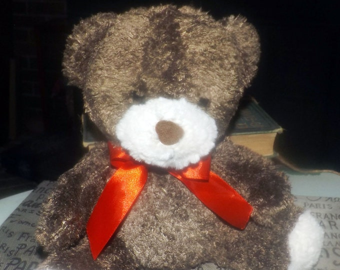 Vintage (1997) Original-issue Tim Teddy | Tim Hortons Charity Bear.  Brown bear with red ribbon.