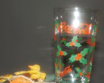 Vintage (1980s) Anchor Hocking Coca-Cola | Coke Christmas tumbler glass. Etched-glass red Coke logo, green holly, red berries.
